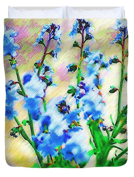 Duvet Cover featuring the photograph Blue Wildflowers by Donna Bentley
