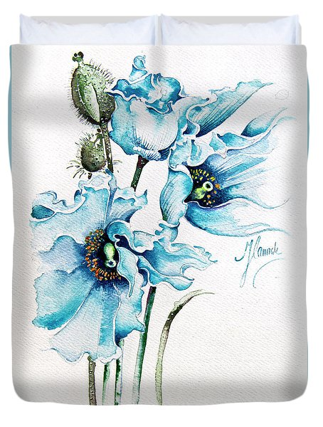 Duvet Cover featuring the painting Blue Wind by Anna Ewa Miarczynska
