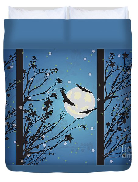 Blue Winter Moon Duvet Cover