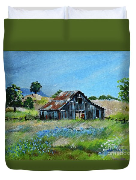 Duvet Cover featuring the painting Bluebell Barn - Rustic Bar - Bluebellsn by Jan Dappen