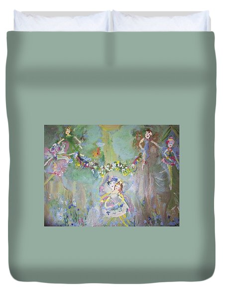 Duvet Cover featuring the painting Bluebell Fairies by Judith Desrosiers