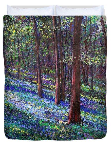 Bluebell Woods Duvet Cover by Li Newton