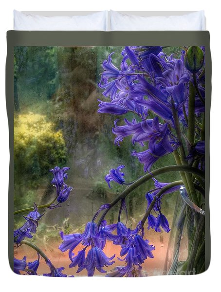 Bluebells In My Garden Window Duvet Cover