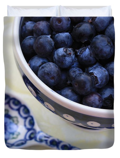 Blueberries And Spoon  Duvet Cover by Carol Groenen