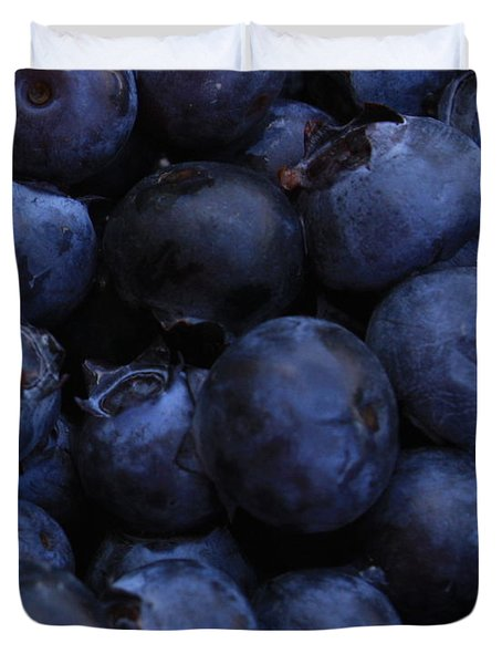 Blueberries Close-up - Horizontal Duvet Cover by Carol Groenen
