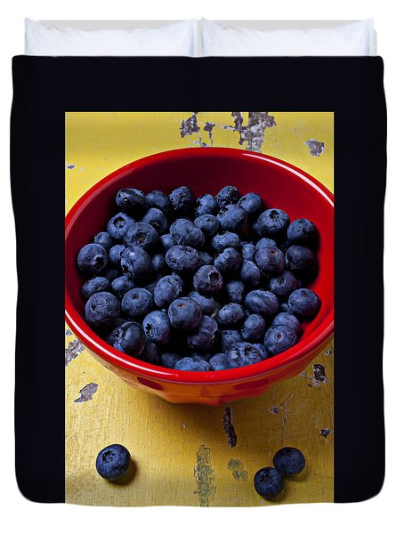 Blueberries In Red Bowl Duvet Cover