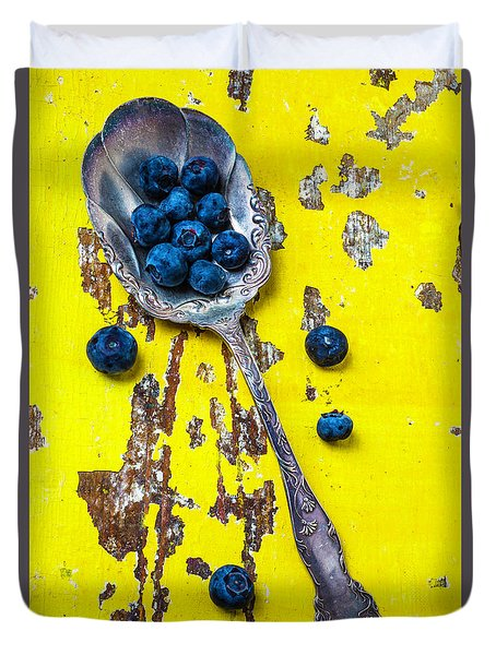 Blueberries In Silver Spoon Duvet Cover by Garry Gay