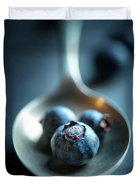 Blueberries Macro Still Life Duvet Cover