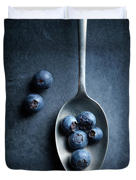 Blueberries On Spoon Still Life Duvet Cover