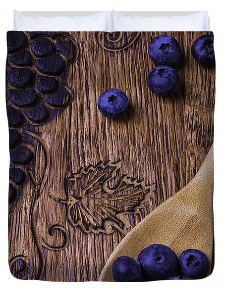 Blueberries With Carvings  Duvet Cover