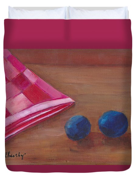 Duvet Cover featuring the painting Blueberries With Red Napkin by Patricia Cleasby