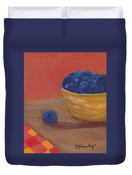 Duvet Cover featuring the painting Blueberries Yellow Bowl by Patricia Cleasby