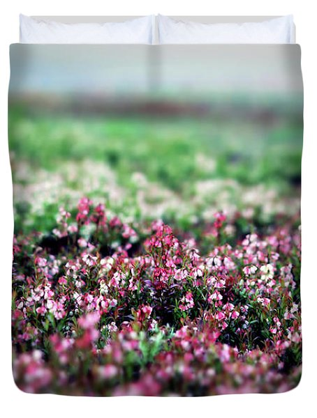 Duvet Cover featuring the photograph Blueberry Blossoms  by Alana Ranney