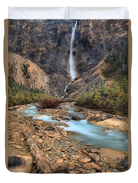 Duvet Cover featuring the photograph Blueberry Blue Waters Under Takakkaw Falls by Adam Jewell