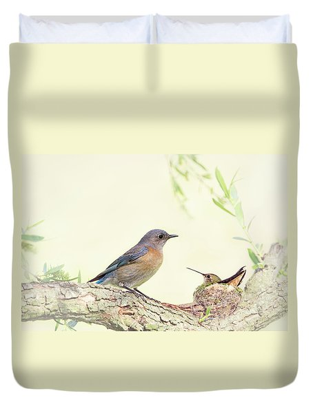 Bluebird And Baby Hummer Duvet Cover