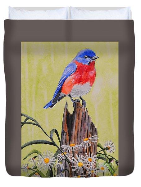 Bluebird And Daisies Duvet Cover