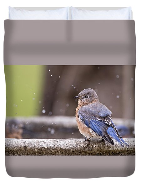 Bluebird Bubble Bath Duvet Cover by Bonnie Barry