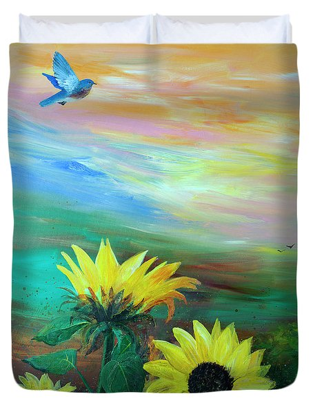 Duvet Cover featuring the painting Bluebird Flying Over Sunflowers by Robin Maria Pedrero