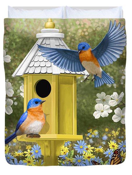 Bluebird Garden Home Duvet Cover by Crista Forest