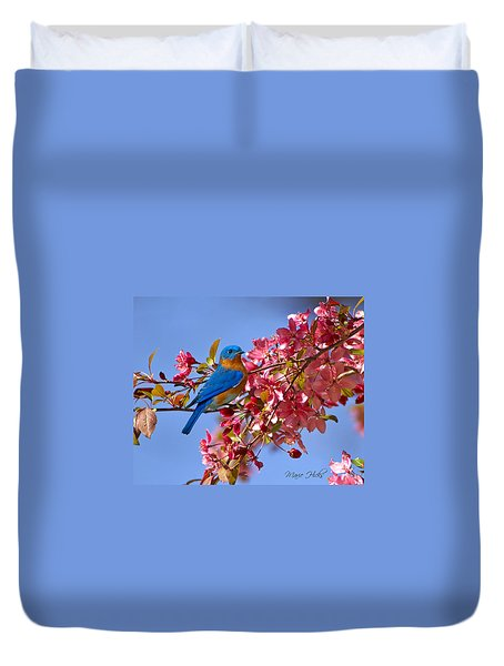 Bluebird In Apple Blossoms Duvet Cover by Marie Hicks