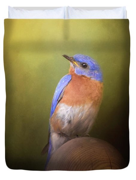 Bluebird On The Nest Pole Duvet Cover