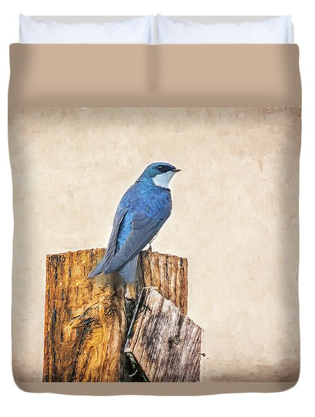 Duvet Cover featuring the photograph Bluebird Post by James BO Insogna