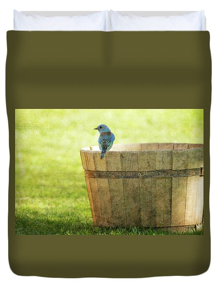 Bluebird Resting On Bucket, Textured Duvet Cover