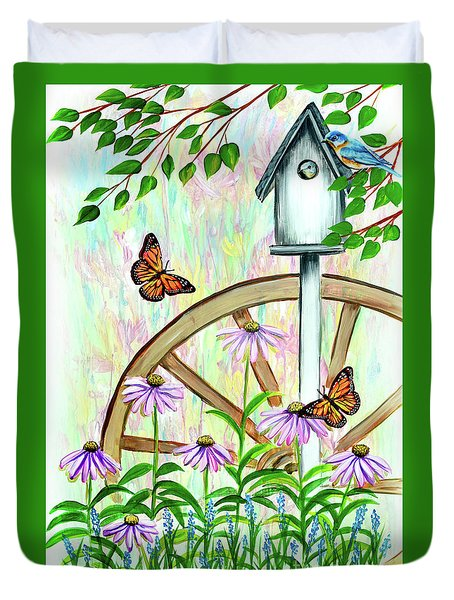 Bluebirds And Butterflies Duvet Cover