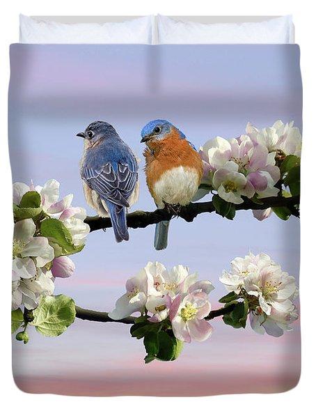 Bluebirds In Apple Tree Duvet Cover