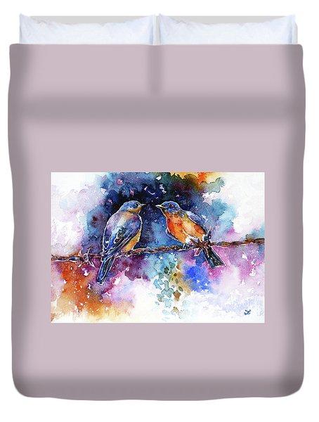 Duvet Cover featuring the painting Bluebirds by Zaira Dzhaubaeva
