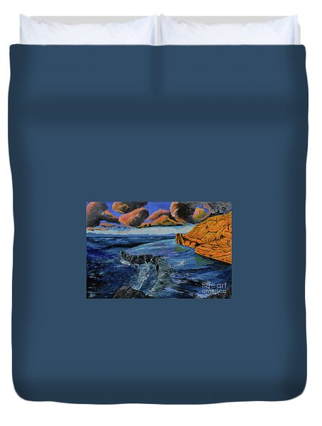 Blue,blue Ocean With Clouds Duvet Cover