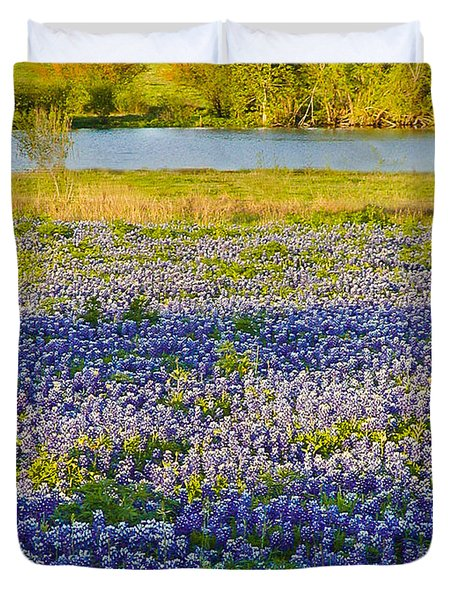 Bluebonnet Field Duvet Cover by Debbie Karnes
