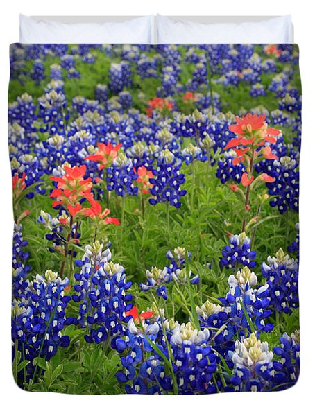 Duvet Cover featuring the photograph Bluebonnet Indian Painbrush by Jerry Bunger