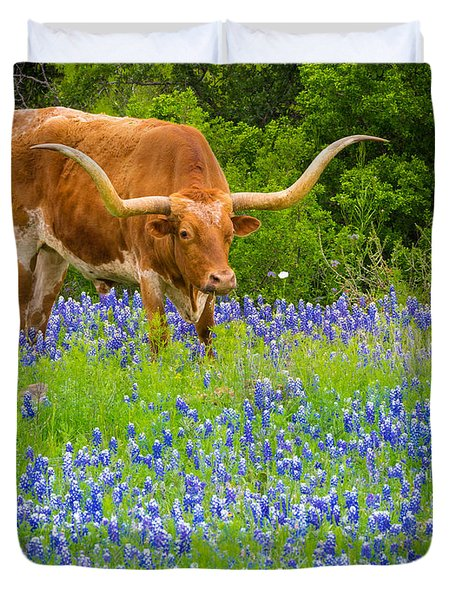 Bluebonnet Longhorn Duvet Cover by Inge Johnsson