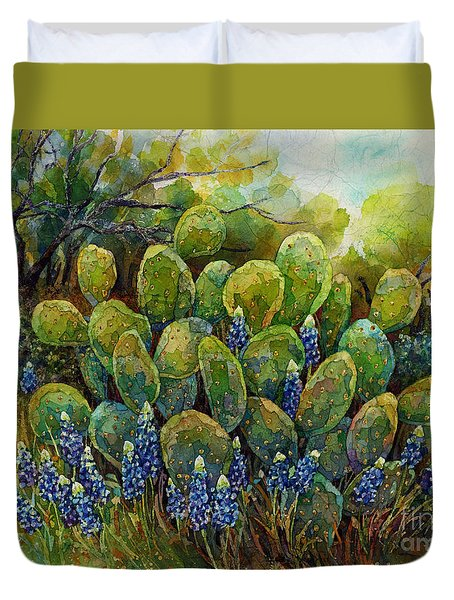 Bluebonnets And Cactus 2 Duvet Cover by Hailey E Herrera