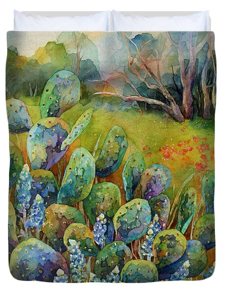 Duvet Cover featuring the painting Bluebonnets And Cactus by Hailey E Herrera