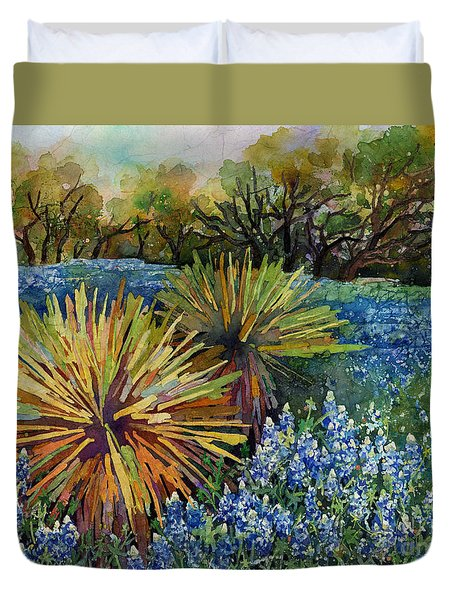 Duvet Cover featuring the painting Bluebonnets And Yucca by Hailey E Herrera