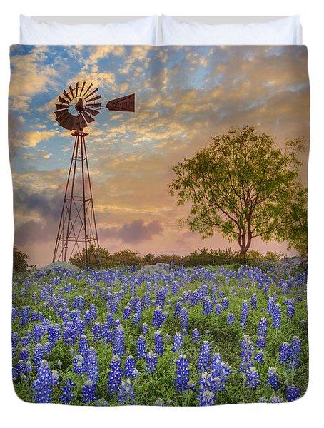 Bluebonnets Beneath A Windmill 2 Duvet Cover