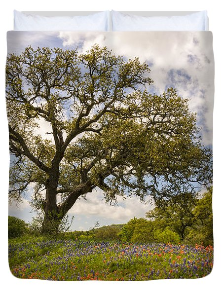 Bluebonnets Paintbrush And An Old Oak Tree - Texas Hill Country Duvet Cover by Brian Harig