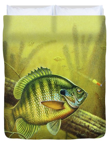 Bluegill And Jig Duvet Cover