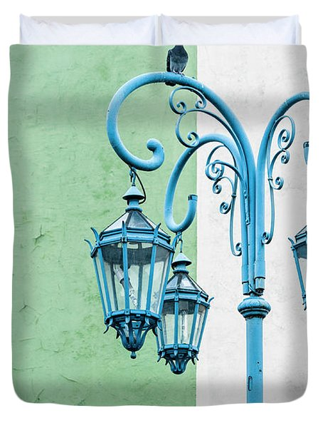 Blue,green And White Duvet Cover