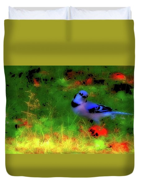 Bluejay-fall Approaching-a Rainbow Play Of Colors Duvet Cover