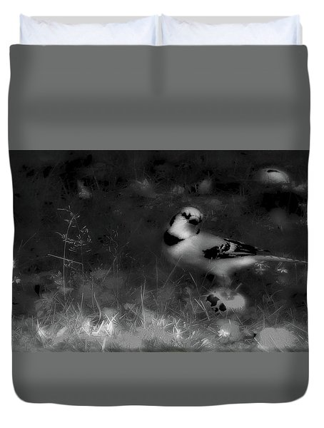 Bluejay-fall Approaching-black And White Duvet Cover