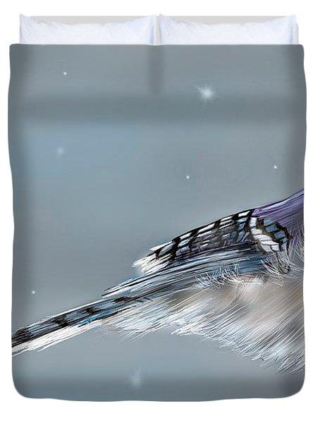 Winter Bluejay Duvet Cover