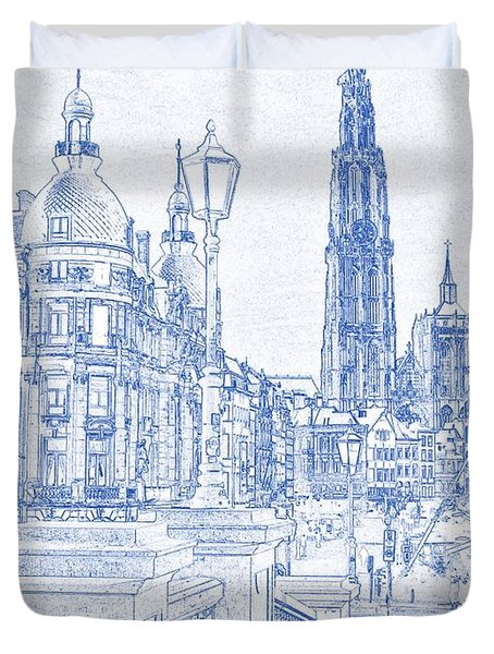 Blueprint Drawing Of Antwerp Suikerrui City Cathedral Buildings Duvet Cover