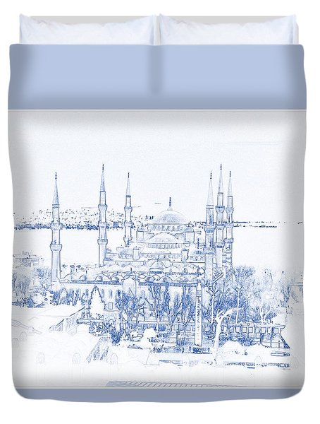 Blueprint Drawing Of Modern Building 10 Istanbul Blue Mosque Duvet Cover