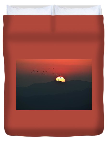 Blue Ridge Sunset Duvet Cover