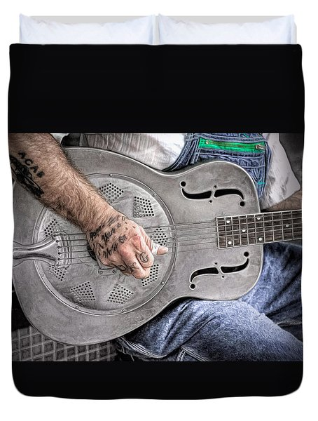 Blues And Tattoos Duvet Cover by Marion Johnson