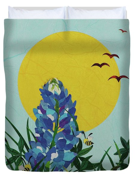 Blues Bees Duvet Cover