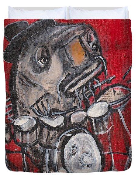 Blues Cat Drums Duvet Cover